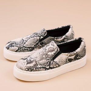 Snakeskin Print Slip on Sneakers, 8